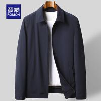 罗蒙男士纯色夹克衫2021春季新款时尚休闲翻领外套宽松百搭爸爸装