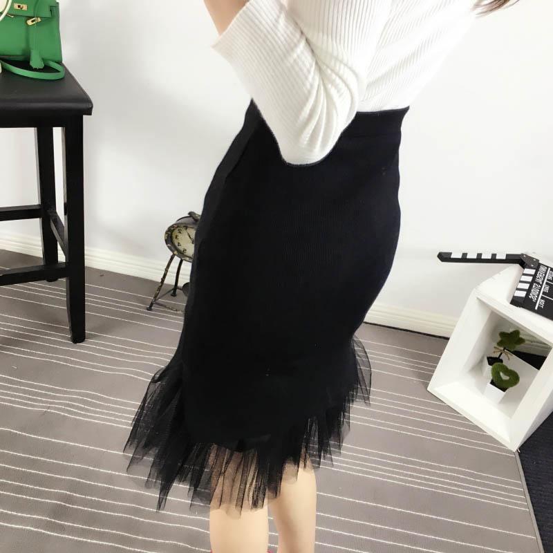 半身裙秋冬女新款高腰弹力针织网纱中长款包臀拼接开叉鱼尾裙 黑色 一般在付款后3-90天左右发货,具体发货时间请以与客服协商的时间为准