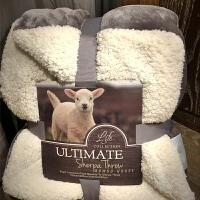 家纺暖加厚双层法兰绒羊羔绒毛毯秋冬季午睡单双人珊瑚绒盖毯子 太空银 羊羔绒毯 200*230cm 约5斤