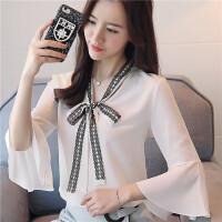 时尚短袖雪纺衫女2018夏季新款韩版白色雪纺衫女细带飘逸短袖雪纺上衣