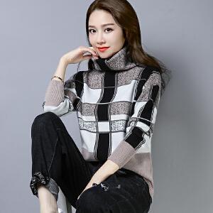 2018冬装新款套头格子毛衣女堆堆领大码宽松打底衫长袖针织衫