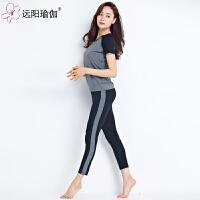 服春夏新款五分短袖跑步套装运动健身瑜珈舞蹈服女 16C50Y2-7108短袖两件套+胸垫