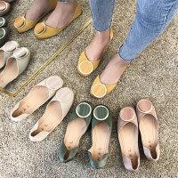 韩版chic女士平底单鞋 时尚百搭方头浅口女鞋子 新款温柔气质豆豆鞋女