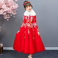 女童连衣裙秋冬加绒公主裙汉服洋气裙子冬拜年服女儿童过年裙冬装