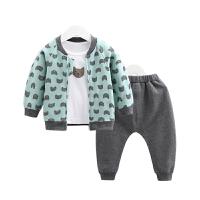 男女宝宝春装运动卫衣套装卡通猫咪印花婴幼儿外出三件套