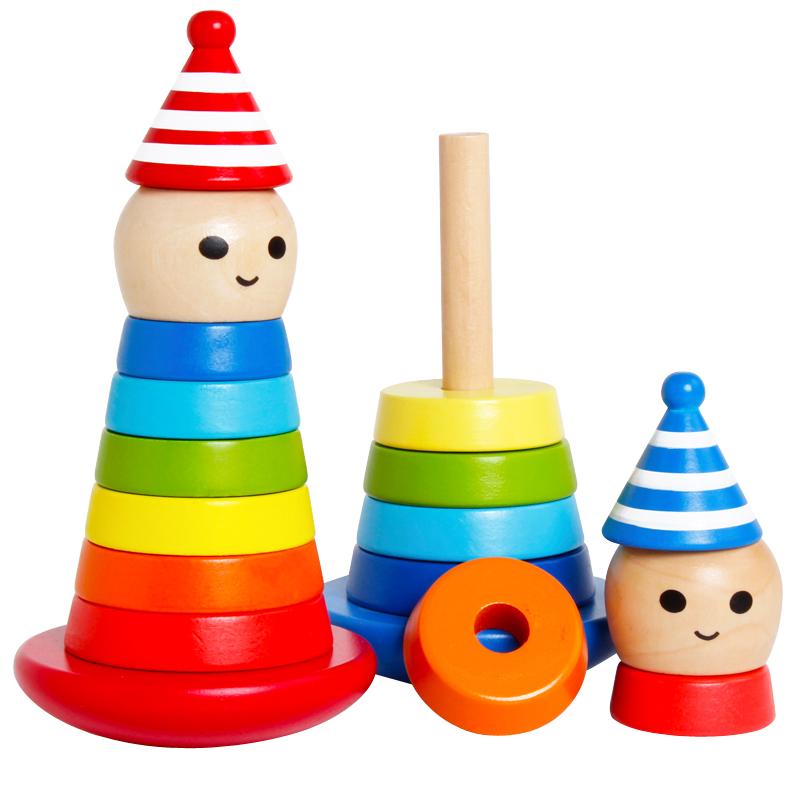 大号不倒翁玩具木制玩具0-3岁层层叠宝宝玩具3-5岁