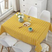 桌布布艺棉麻亚麻风格小清新欧式防水格子餐桌布北欧茶几盖布定制