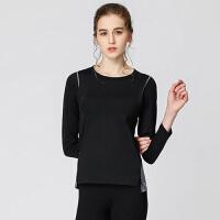 201804012030444瑜伽服上衣健身服女初学者长袖黑色上装秋季专业瑜珈服 黑色