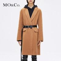 MOCO冬季新品翻领羊毛呢糖果色大衣外套MA184OVC113 摩安珂