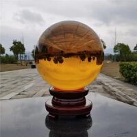 黄色水晶球招财旺运透明玻璃风水球玄关客厅家居装饰办公室摆件