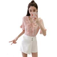 2018春夏新款女装荷叶边喇叭袖V领上衣韩版宽松短袖雪纺衫女