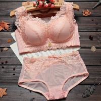 调整型聚拢厚薄款内衣无钢圈美背收副乳文胸+内裤 虾粉色 厚款