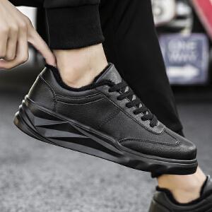 冬季厚底增高板鞋韩版潮流百搭男鞋子学生休闲鞋保暖加绒棉鞋红鞋