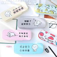 韩国文具创意清新简约笔袋帆布大容量男女中小学生多功能铅笔盒女