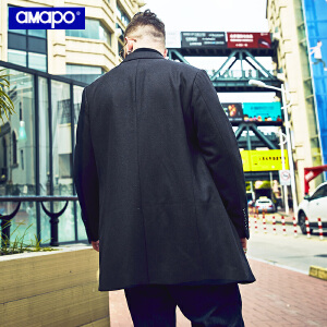 【限时抢购到手价:229元】AMAPO潮牌大码男装加肥加大码宽松潮胖子嘻哈外套中长款毛呢大衣