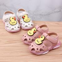 夏季女宝宝学步鞋小童公主凉鞋1-2-3岁幼儿包头凉鞋软底闪灯童鞋