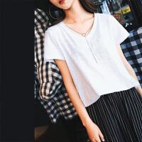 七格格白色t恤短袖女新款夏装韩范百搭学生上衣宽松韩版女