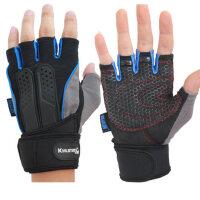 新款哑铃器械健身手套 轻盈防滑男士训练半指手套 加长护腕户外运动手套