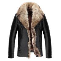 冬季新款貉子大毛领皮毛一体男装中长款皮草加厚外套真皮皮衣