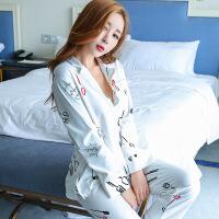 睡衣女长袖针织棉春秋季可外穿时尚韩版休闲开衫女士家居服套装XC ht#11716