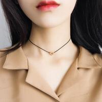 银玫瑰金爱心项链颈链项圈女韩国锁骨链简约脖子上的饰品颈带
