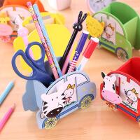 动物汽车笔筒卡通木质创意文具韩版儿童礼品文化办公学习用品 (不可选颜色)
