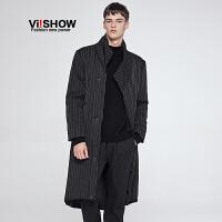 viishow新款冬季外套中长款棉衣潮流条纹时尚棉服保暖男装潮