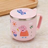 儿童水杯家用304不锈钢保温口杯幼儿园防摔喝水杯带盖带手柄杯子