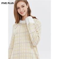 FIVE PLUS2019新款女冬装格子针织衫女宽松圆领套头衫潮落肩长袖