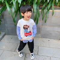 男童卫衣春装2新款假两件春秋儿童上衣长袖T恤