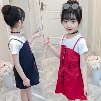 2018夏季新款女童套装裙子中大童可爱洋气吊带裙短袖两件套连衣裙