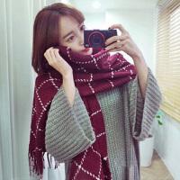 韩版毛线围巾男女秋冬季加厚长款仿羊绒披肩两用学生保暖围脖韩国