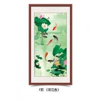 九鱼图装饰画国画中式客厅玄关走廊过道壁画竖联风水牡丹挂画