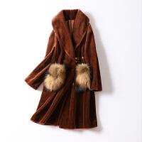 焦糖色拼貂羊剪绒大衣女冬装新款 大口袋中长款皮草外套女