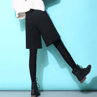 毛呢短裤女秋冬高腰新款韩版裤子宽松加厚外穿打底宽腿五分阔腿裤