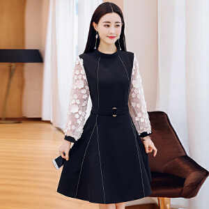 连衣裙2018春季新款韩版气质修身显瘦女中长款长袖低圆领打底裙a