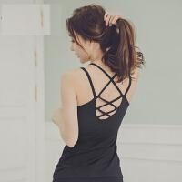 美背心亲肤带胸垫瑜伽运动上衣女速干健身服防震聚拢春夏长款 黑色 含胸垫