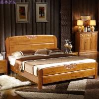双人简约中式家具高箱储物婚床全实木床橡木床