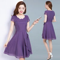 2018夏装新款女装韩版修身显瘦中长款气质雪纺连衣裙中年夏天裙子