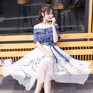 2018夏季中长款牛仔拼接不规则网纱刺绣连衣裙假两件套女装