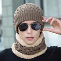 帽子男冬季中老年帽针织毛线帽脖套装保暖围脖护耳包头帽