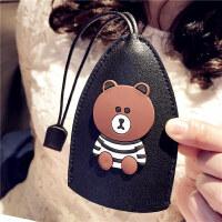 {夏季贱卖}布朗熊汽车可爱卡通钥匙包女生创意个性车载通用钥匙保护套男女士 黑色