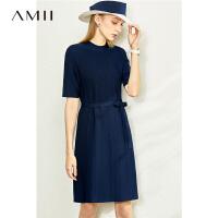 【到手价:182元】Amii极简半高领绑带小A型中袖连衣裙2020春季新款条纹配腰带裙子