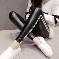 女士皮裤长款女新款显瘦外穿弹力小脚紧身打底裤加绒高腰女裤 白条676-2 抓毛绒 收藏宝贝赠*物