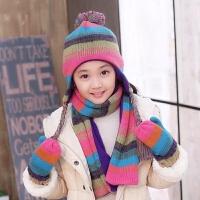 秋冬女童保暖护耳帽 学生中童大童儿童毛线帽子围巾手套三件套装