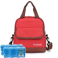 V-Coool妈咪包套装(含蓝冰)便携双层母乳保鲜包背奶包冰包便当包午餐包野餐包 大红+干式蓝冰2块