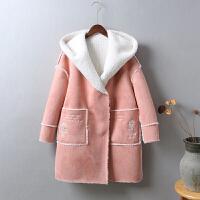 L8女装冬装羊羔毛麂皮绒 大衣外套中长款加厚加绒棉衣棉袄1.1