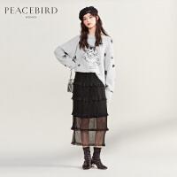 太平鸟黑色高腰蛋糕裙半身裙女2019新款秋季H型蕾丝网纱基础长裙