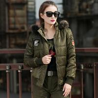 冬季休闲军装棉衣外套修身显瘦加厚夹克女 101空降师 军绿色