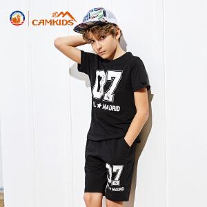 CAMKIDS男童短袖T恤透气2018夏季新款中大小童男皇马速干T恤